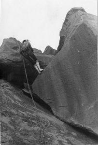 Carletta Ybarguen on rappel, Shiprock, New Mexico, April 1962