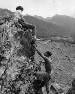 Unidentified people climbing