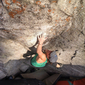 Photo of Tallie bouldering in Little Cottonwood Canyon, UT