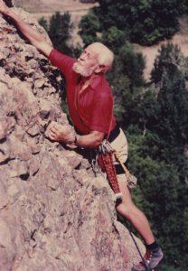 Harold Goodro rock climbing